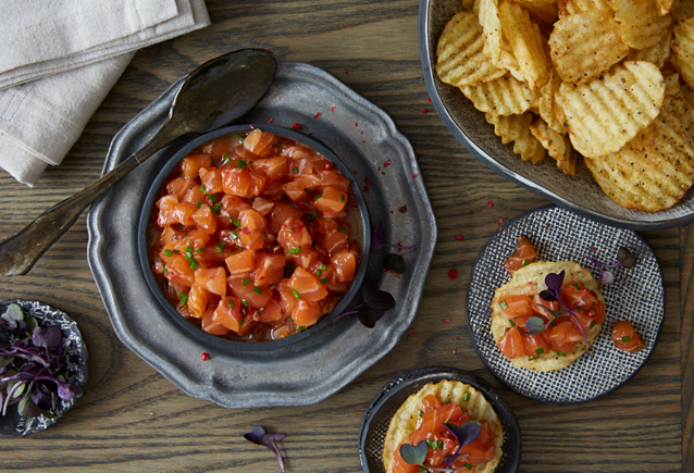 Simple Verlasso Salmon Tartar on Kettle Chips