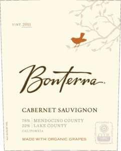 Bonterra Cabernet Sauvignon 2011 bottle label