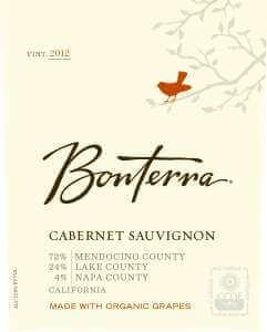 Bonterra Cabernet Sauvignon 2012 bottle label