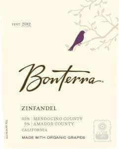 Bonterra Zinfandel 2012 front label