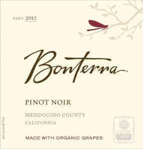 Bonterra Pinot Noir 2013 wine label