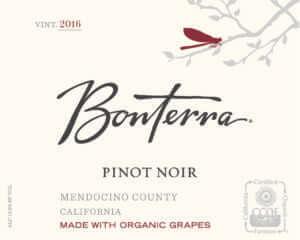 Bonterra Pinot Noir 2016 front label