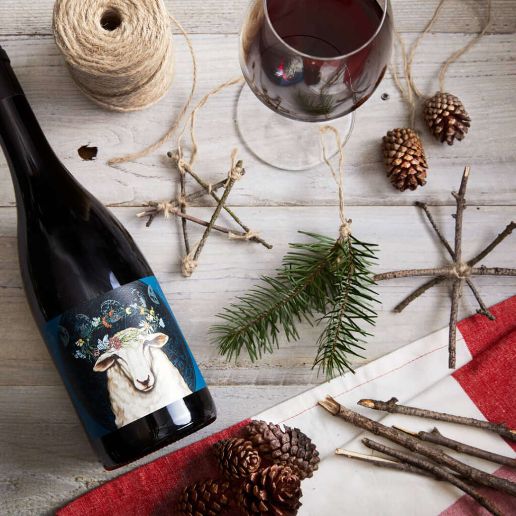 Bonterra Elysian Merlot and DIY ornaments crafted from found and recyclable materials