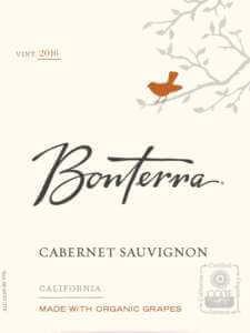 Bonterra Cabernet Sauvignon 2016 bottle label