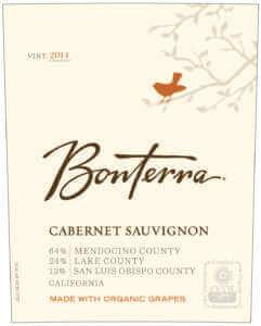 Bonterra Cabernet Sauvignon 2014 bottle label