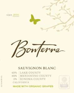 Bonterra Sauvignon Blanc 2016 wine label