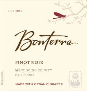 Bonterra Pinot Noir 2015 wine label