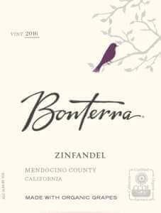 Bonterra Zinfandel 2016 wine label