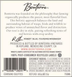 2017 Bonterra Rosé label back