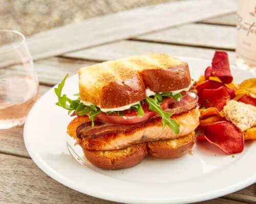 Verlasso's Brioche Salmon Club Sandwich