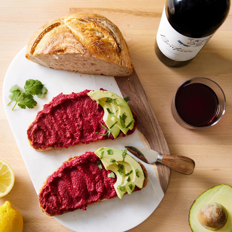 Beet Hummus with Bonterra Wine