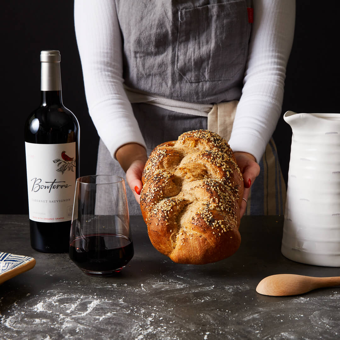 Bonterra Cabernet Sauvignon and braided bread twist