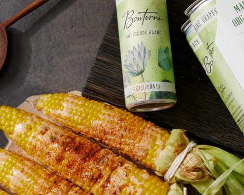 Elote and Bonterra Sauvignon Blanc Cans