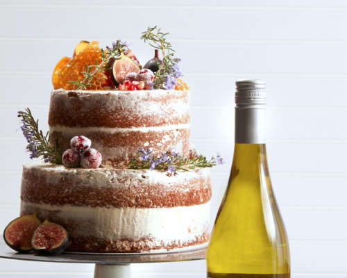 Naked Orange Blossom Cake with Honey Buttercream with Dry Muscat wine