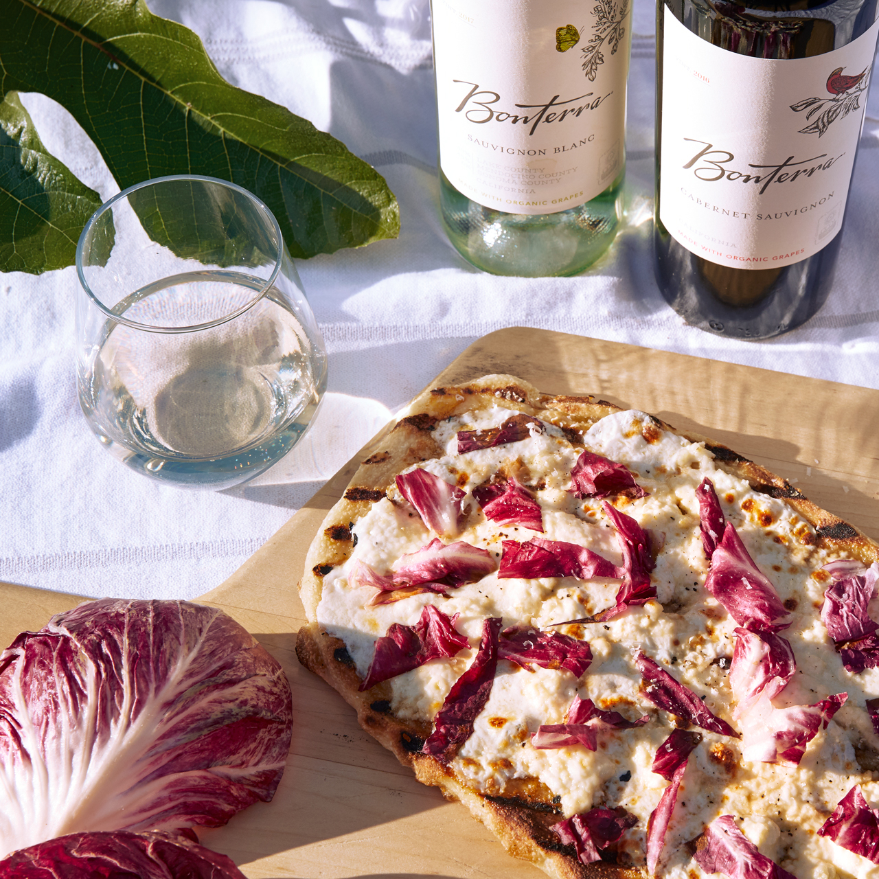 Grilled Pizza Bianca with Radicchio
