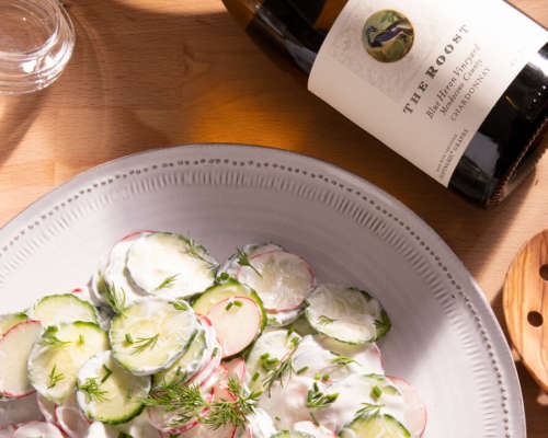 Cool Cucumber Salad with Bonterra's Vintage wine 'The Roost'
