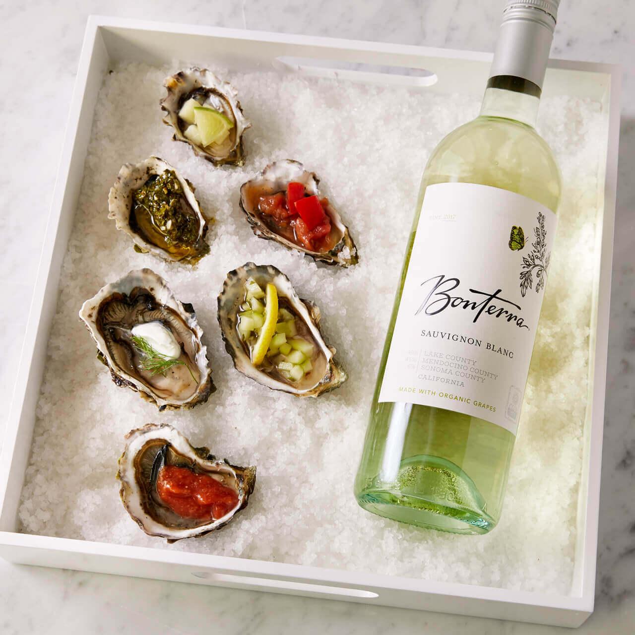 Oysters 6 ways and Bonterra Sauvignon Blanc