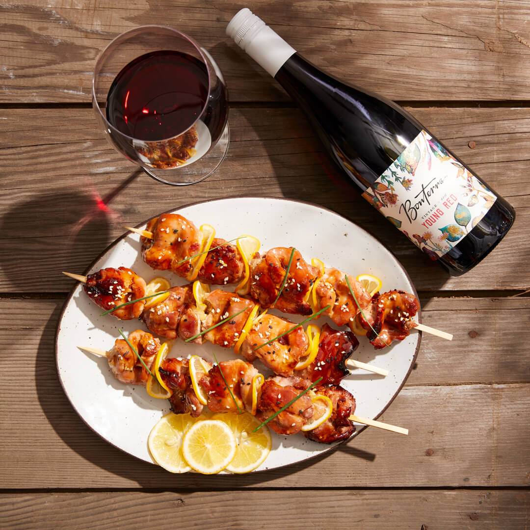 Young Red wine with shareable Yakitori Skewers