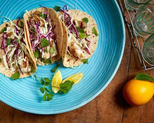 La Tortilla Factory's Grilled Halibut Fish Tacos // Bonterra Vineyards