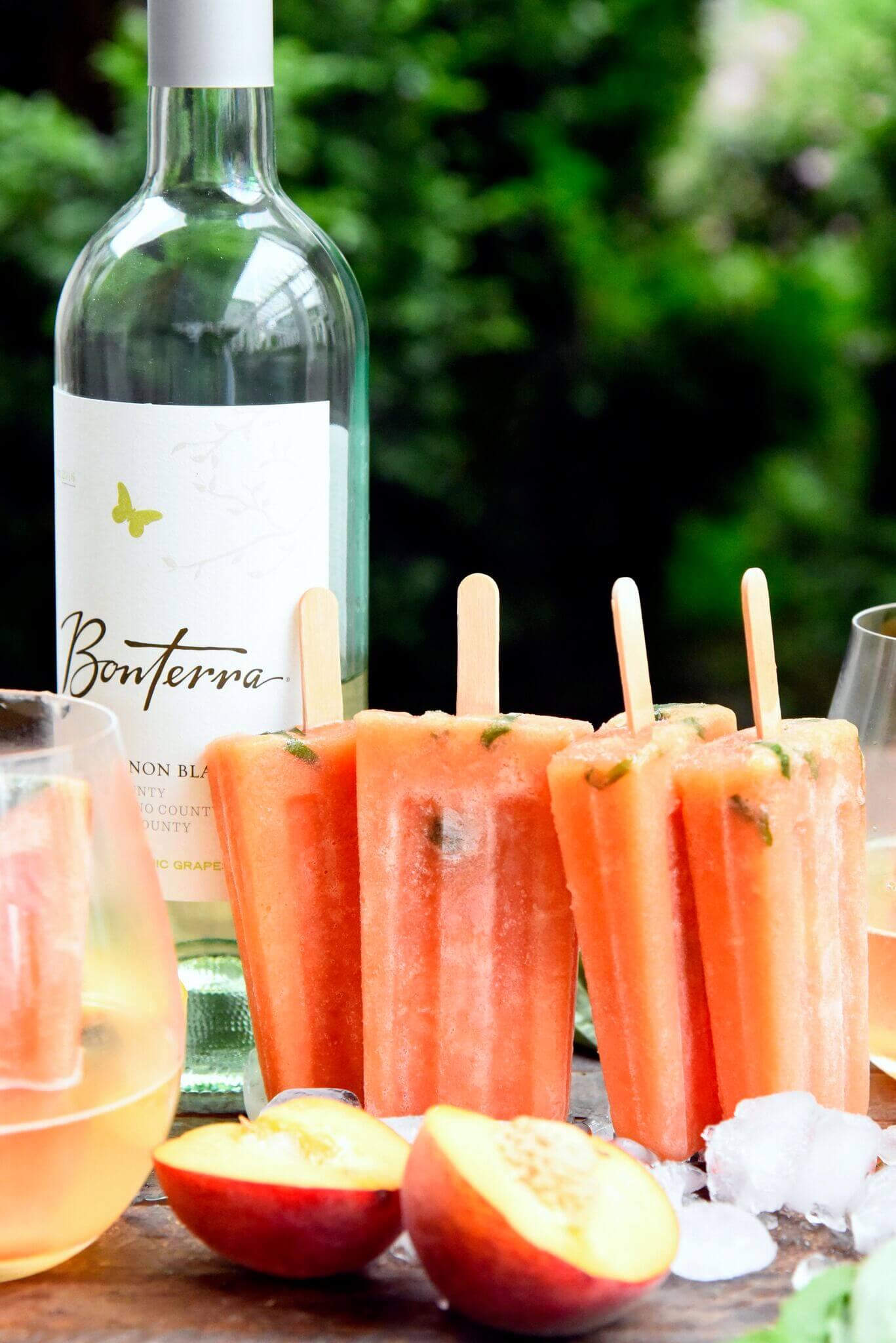 Peach Basil Wine Popsicles