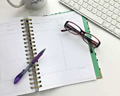 Organizational planner and a pair of glasses