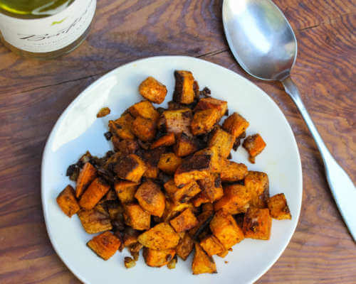 Roasted Sweet Potatoes with Warm Spices and Lime