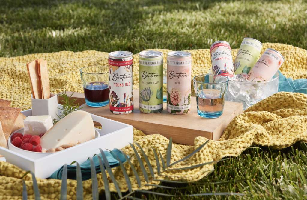 Bonterra Wines in cans on a picnic