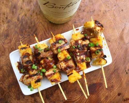 Tuna and Pineapple Kebabs with Ginger-Soy Glaze