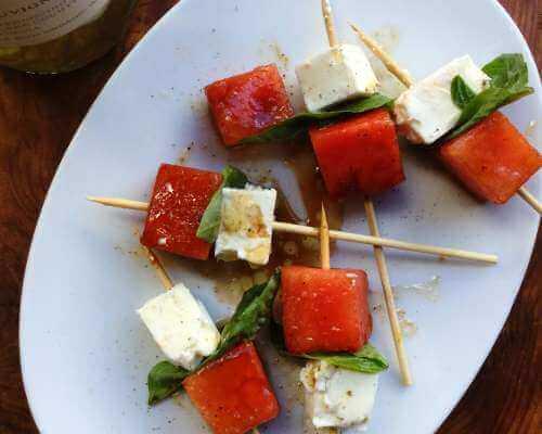 Watermelon, Feta and Basil Skewers