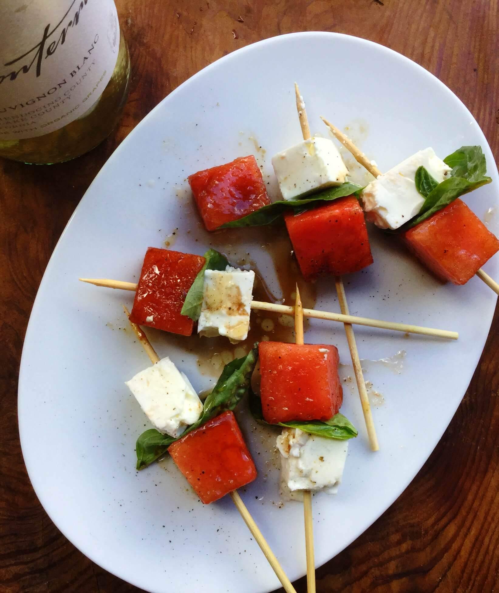 Watermelon, Feta and Basil Skewers | Bonterra Organic Vineyards