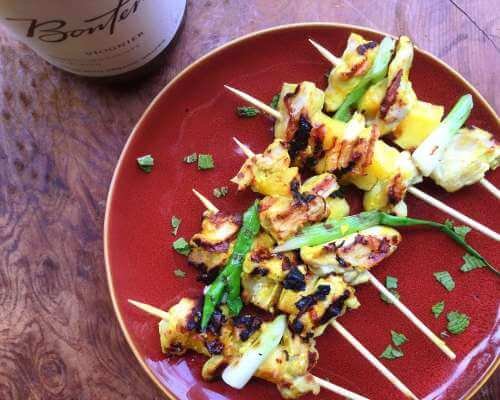Curry Chicken and Mango Kebabs