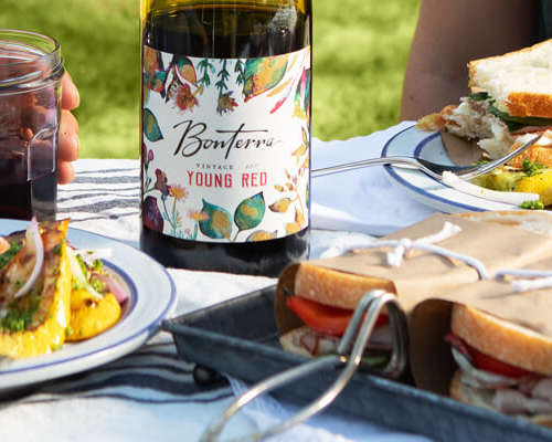 Squash Salad paired with Bonterra's 2017 Young Red wine