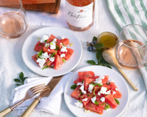 Watermelon Salad paired with 2017 Rosé